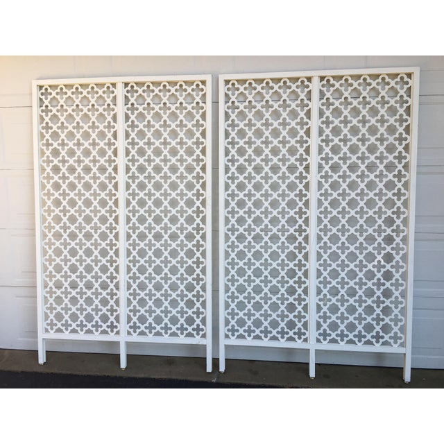 White Mid-Century Modern Geometric White Wood Room Dividers - a Pair For Sale - Image 8 of 10