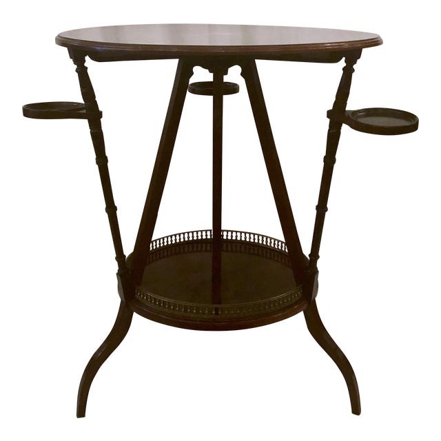Unusual Antique Rosewood Side Table With Delicate Inlay and Coasters, Circa 1860-1870. For Sale