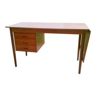 Circa 1960 Denmark, Arne Vodder Drop Leaf Teak Student Desk for H. Sigh & Sons Mobelfabrik