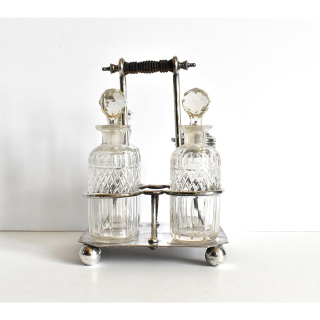 19th Century Victorian Condiment Cruet Caddy Set - 5 Piece Set For Sale - Image 5 of 9