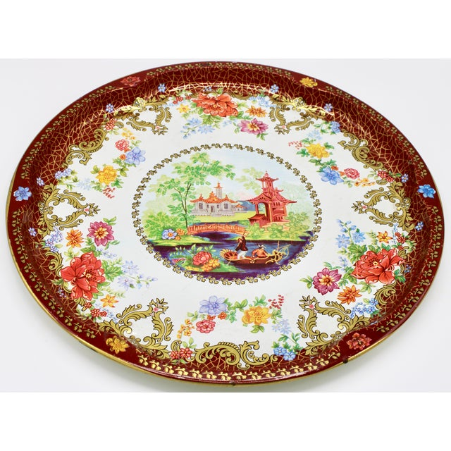 Vintage Chinoiserie Tole Floral Red and Gold Circular Tray For Sale - Image 11 of 12