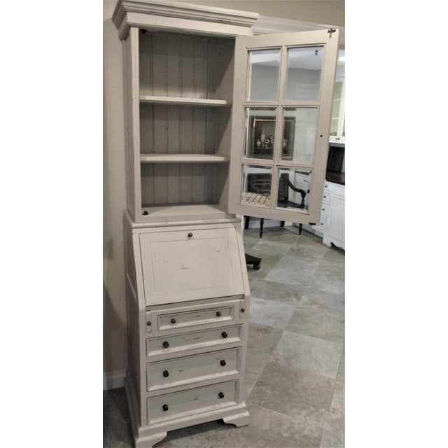 Chippendale Cottage Narrow White Secretary Desk For Sale - Image 3 of 8