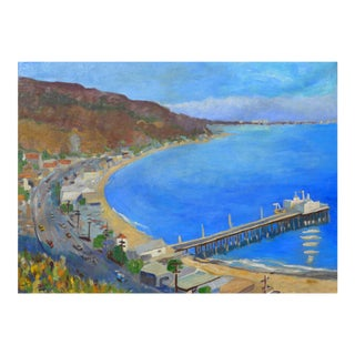 """Malibu Pier, California"" Contemporary Oil Painting by Martha Holden For Sale"