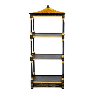Tony Duquette Style Hand Painted Black and Giltwood Three-Tier Pagoda Wall Étagère For Sale