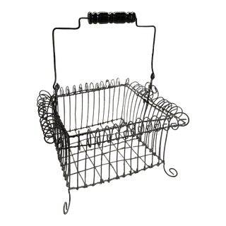 French Egg Wire Basket For Sale