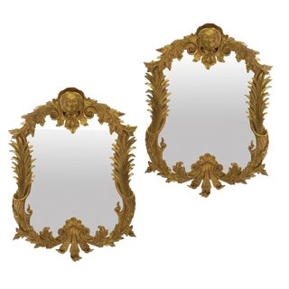 A Pair of Large George III Style Gilt Wood Mirrors For Sale