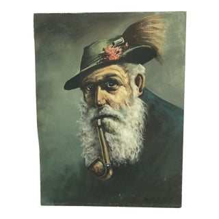 """Vintage """"Man With a Hat and Pipe"""" Oil Painting on Board Signed Kerner For Sale"""