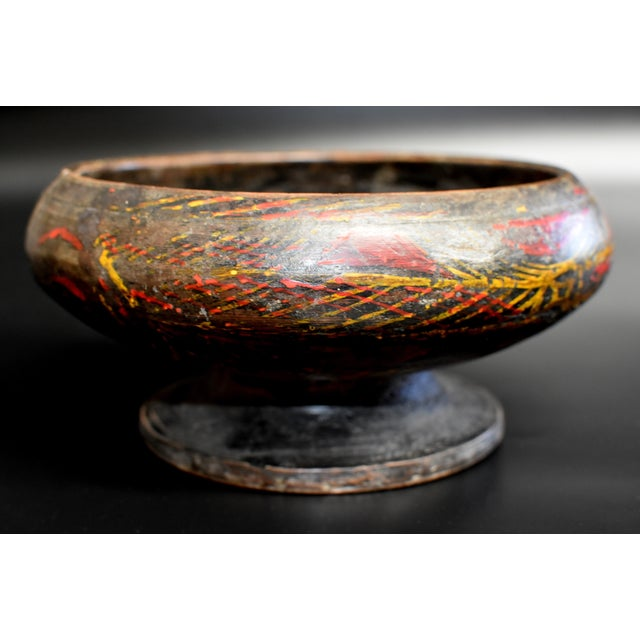 Antique Tibetan Wheat Motif Wooden Bowl For Sale In Los Angeles - Image 6 of 13
