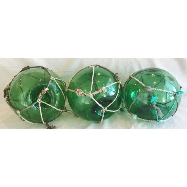 Abstract Jumbo Nautical Green Glass Fishing Floats - Set of 3 For Sale - Image 3 of 8