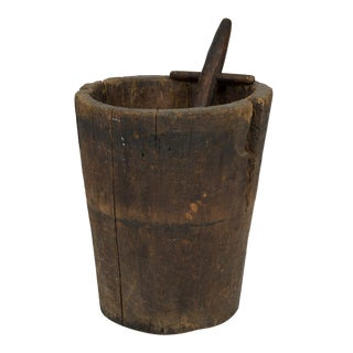 Massive and Primitive Carved Chestnut Mortar With Pestle, French Circa 1800 For Sale