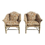 Image of Pair Vintage McGuire Mid Century Bamboo Rattan Zebra Print Accent Chairs #1 For Sale