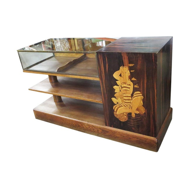 1930s Art Deco Macassar Ebony and Inlaid Wood Showcase For Sale