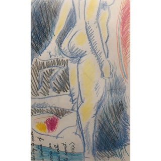 Colorful Female Nude Drawing by James Bone For Sale