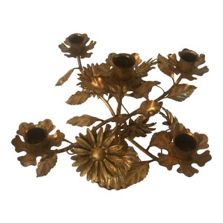 1960s Vintage French Country Flower Gilt Candle Holder For Sale