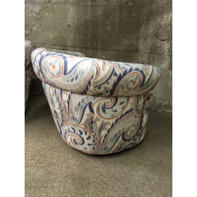 1990s Vintage Custom Sculptural Swivel Club Chairs- A Pair For Sale In Los Angeles - Image 6 of 10