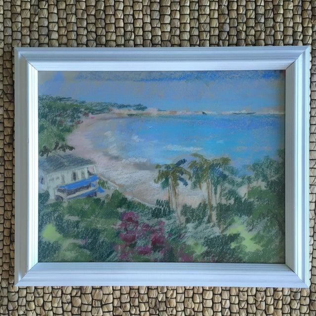 Original Oil Pastel Caribbean Coastline Seascape Framed Art - Image 2 of 10