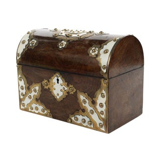 19th C. English Domed Walnut Document Box For Sale