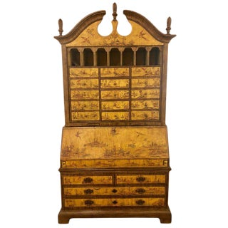 Yellow Lacquer Chinoiserie Style Decorated Secretary Desk For Sale