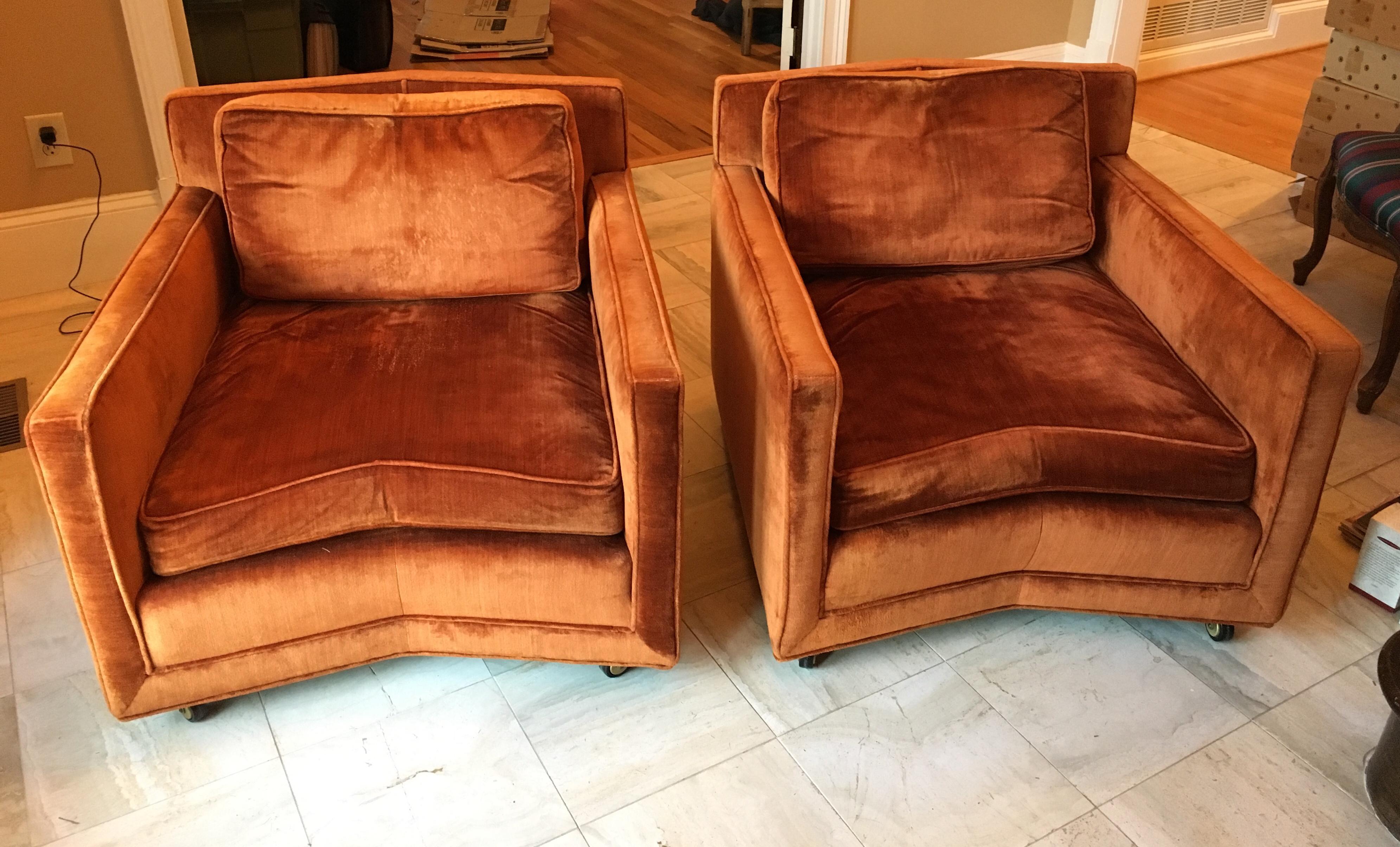 John Saladino For Baker Furniture Velvet Club Chairs A Pair Chairish