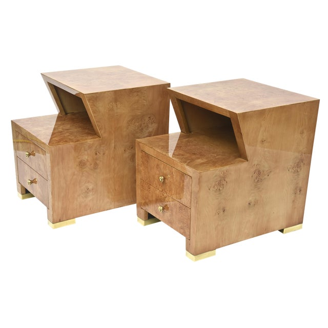 Pair of Sir Edmund Spence Burled Maple Two-Drawer Night or End Tables For Sale