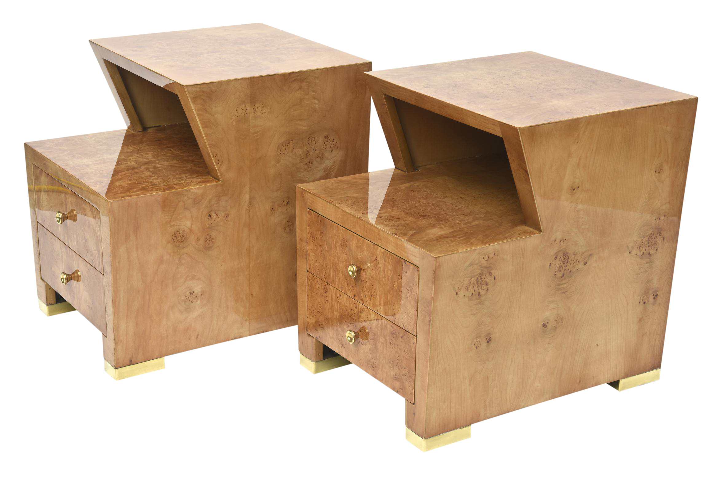 Pair Of Sir Edmund Spence Burled Maple Two Drawer Night Or End Tables