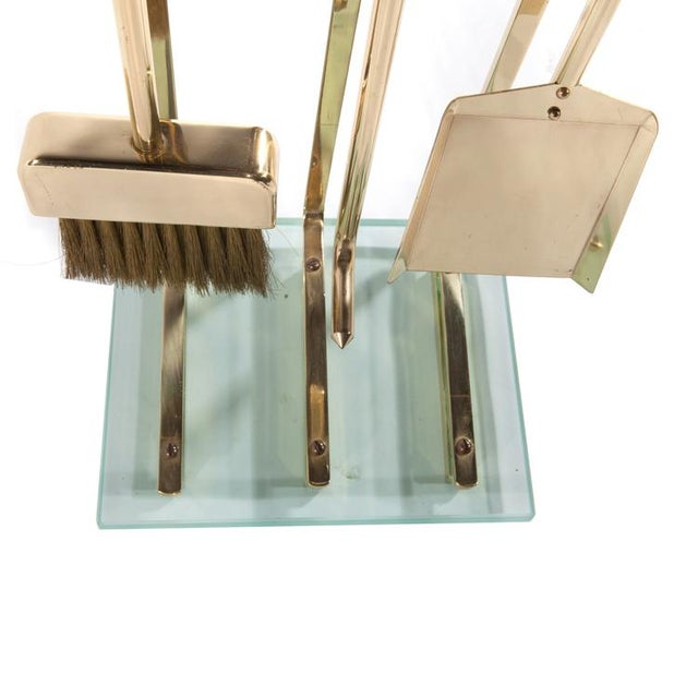 1970s 1970's VINTAGE BRASS AND GLASS FIREPLACE TOOL SET For Sale - Image 5 of 11