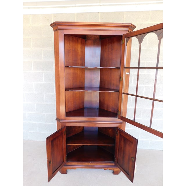 Statton Old Towne Chippendale Style Cherry Corner Cabinet For Sale - Image 10 of 13