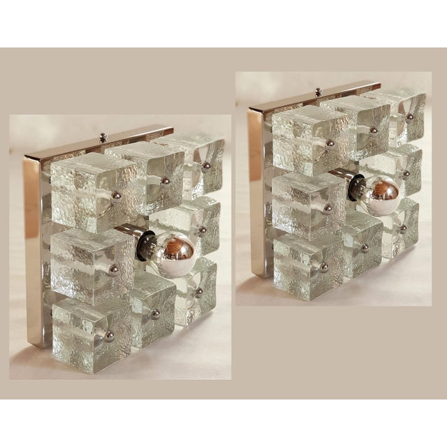 Pair of Square Chrome/Glass Sconces/Flush Mount Lights, Mid Century Modern For Sale - Image 11 of 11