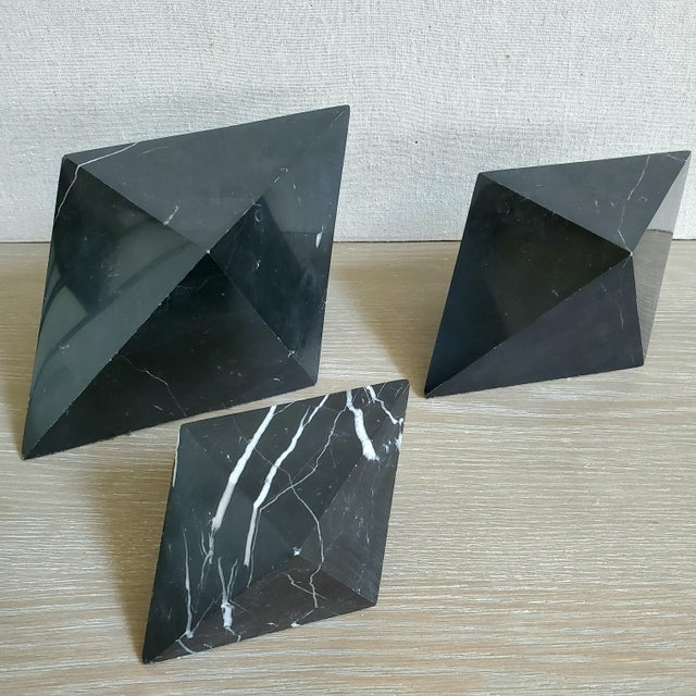 Contemporary Geometric Octahedron Marble Sculptures - Set of 3 For Sale - Image 3 of 12