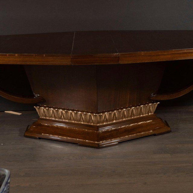 Mid 20th Century Art Deco Book Matched Mahogany Dining Table With 24-Karat Gilt Acanthus Details For Sale - Image 5 of 12