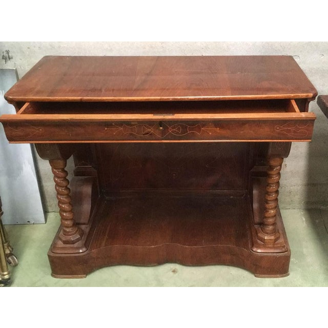 20th Century Biedermeier Style Marquetry Spanish Console Table With Drawer For Sale - Image 4 of 10