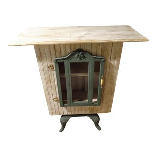 Antique Rustic Wood Stove Base Cabinet