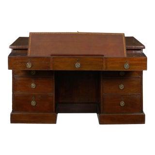 George III Mahogany Partner's Antique Pedestal Writing Table Desk, England Circa 1800 For Sale