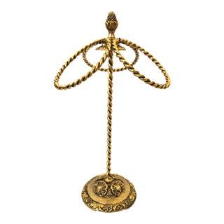 Hollywood Regency Gold Pedestal Towel Holder For Sale