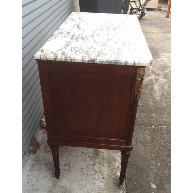 Vintage French Marble-Top Nailhead Trim Dresser - Image 4 of 9