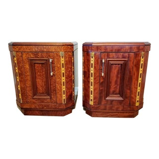 1930s French Art Deco Exotic Burled Thuja & Bubinga Inlaid Bedside Tables - a Pair For Sale