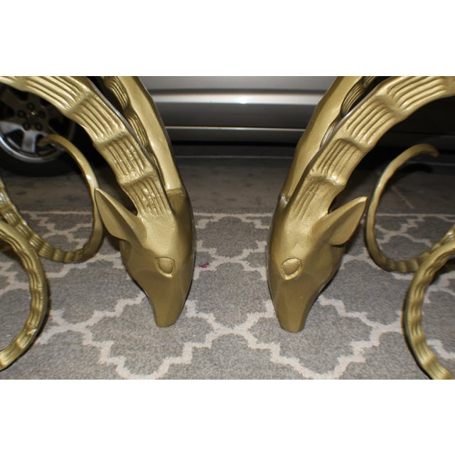 A pair of Iconic Alain Chervet style brass Ibex or ram's head dining table or desk base with long patterned horns....