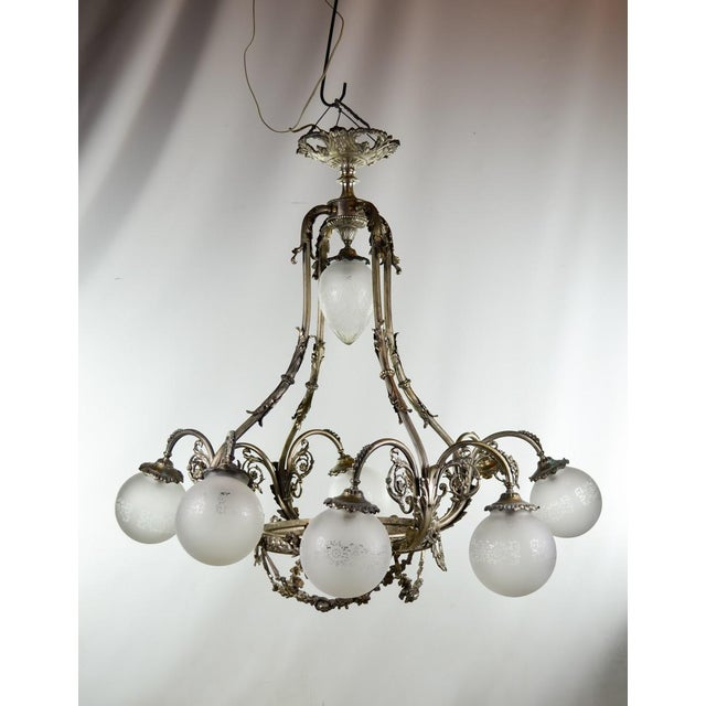 19th Century French Art Deco Nickel Saloon Chandelier Image 2 Of 11