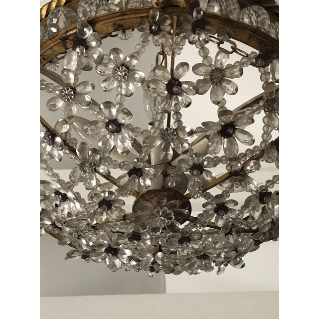French Antique Bronze & Crystal French Chandelier Pendant For Sale - Image 3 of 13