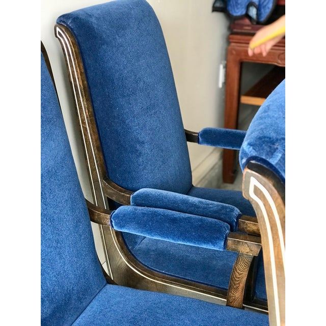 Mid-Century Modern Blue Velvet Dining Chairs - Set of 4 For Sale In Los Angeles - Image 6 of 11