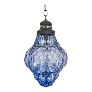 1960s Boho Chic Hand-Blown Blue Glass Cage Pendant