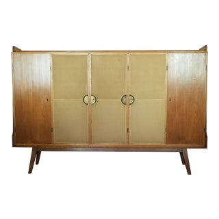 Custom Made Italian Maple Cabinet With Leather Cladded Doors For Sale