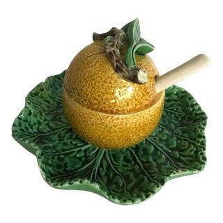Vintage Bordallo Pinheiro Lemon and Cabbage Sugar Bowl For Sale