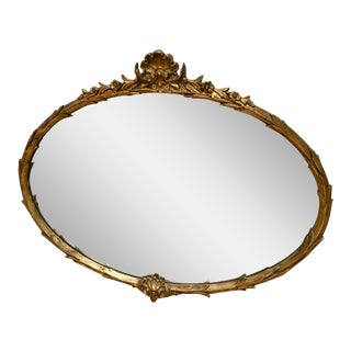 French Carved Gilded Shell Crest Oval Mirror