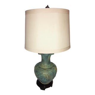 Asian Decor Bronze Verdigris Table Lamp For Sale
