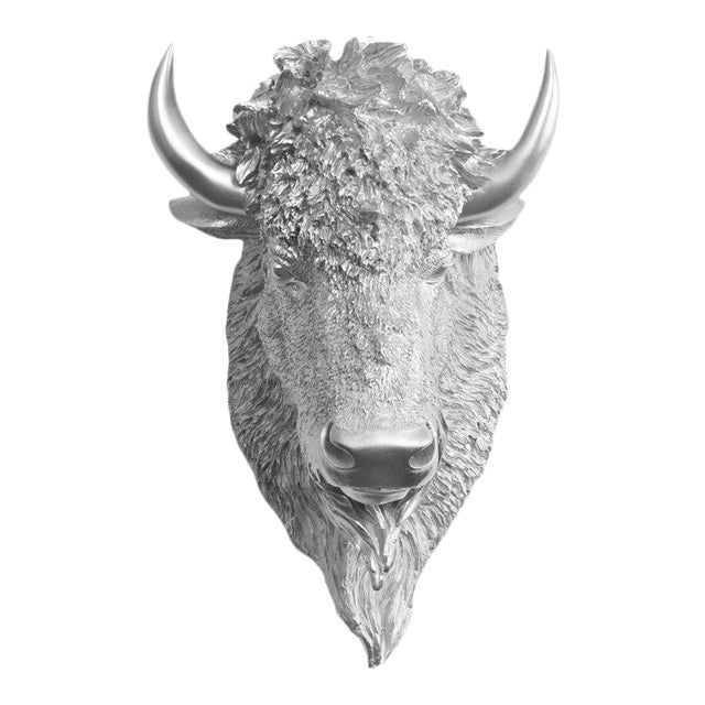 Wall Charmers Faux Bison Bust in Silver For Sale