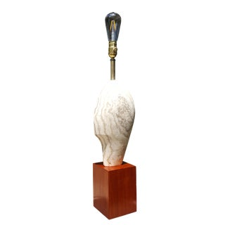 1950s Modern Art Brancusi Style Marble Head Lamp For Sale