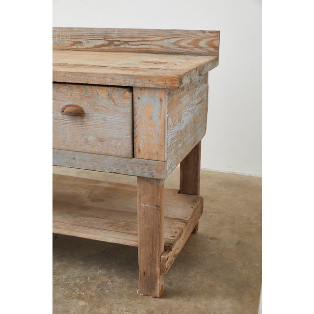 Rustic American Pine Three-Drawer Workbench Table For Sale In San Francisco - Image 6 of 13