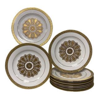 Royal Gallery Gold Medallion Salad Dessert Accent Plates Set of 10 For Sale