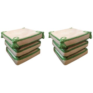 Italian Glazed Terracotta Garden Seats - A Pair